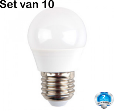 Set van 10 x LED G45 - 3W - E27 - 2700K - 250 Lumen